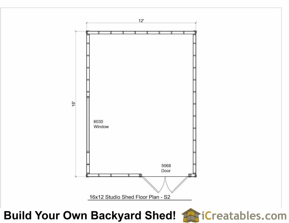 16x12 modern studio shed plans for Shed floor plans