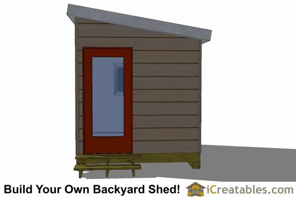 8x10 Modern Shed Plans End Door
