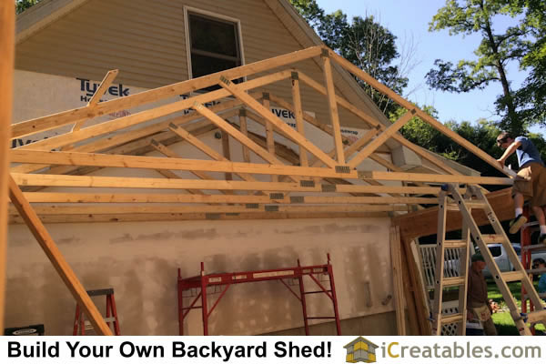 "The roof trusses are made in a truss factory and delivered to the site. THey are set on the garage walls at 24"" on center."