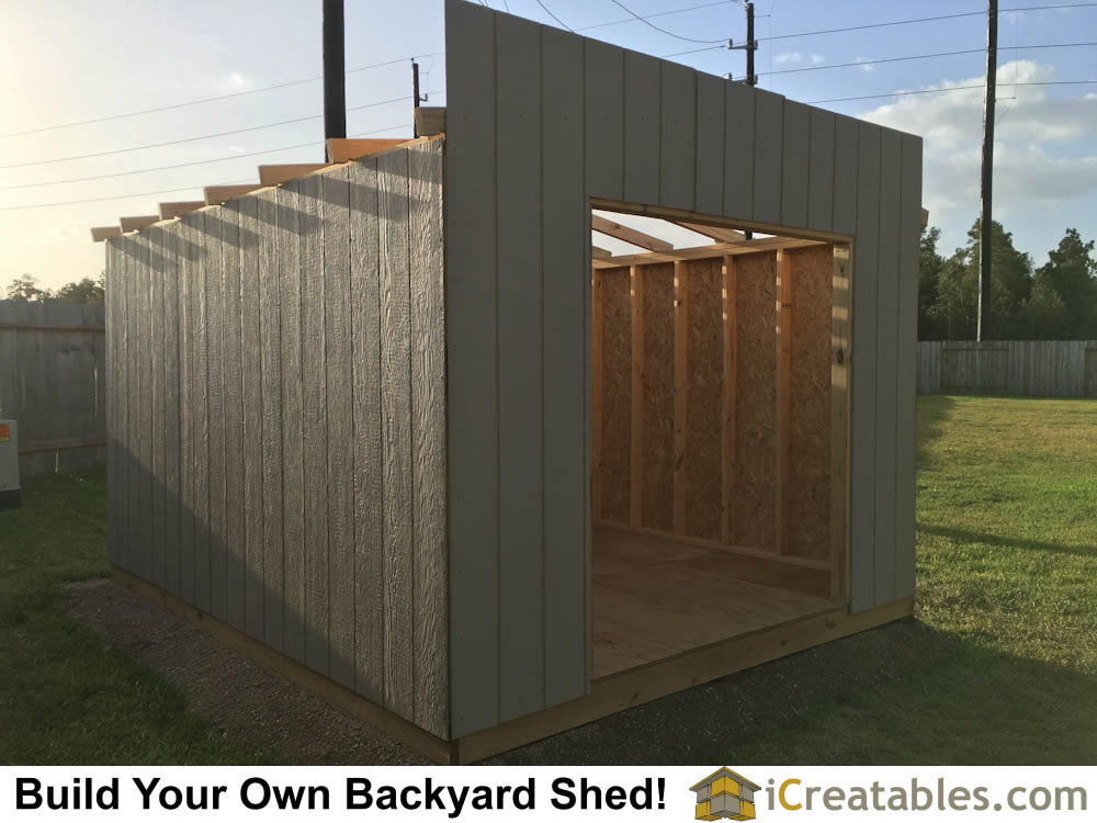 10x12 Backyard shed siding installed on shed walls.