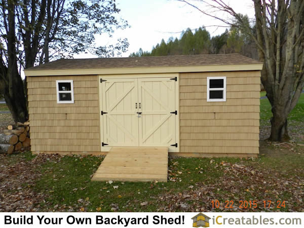 12x20 Large Backyard Shed With Ramp Built In Front Of Large Double Doors.