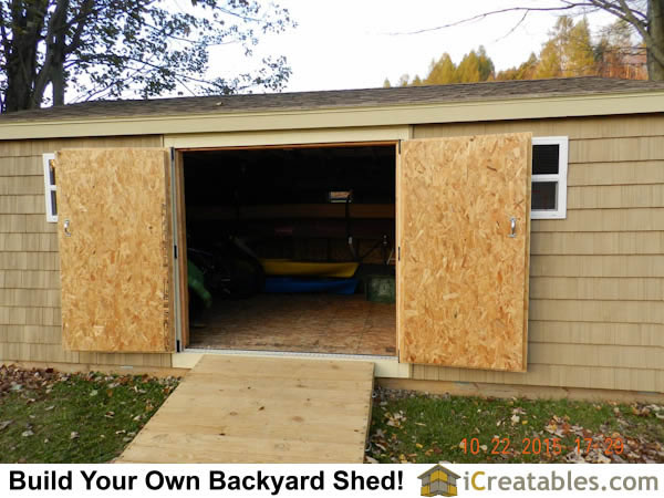 12x20 Backyard shed double doors open.