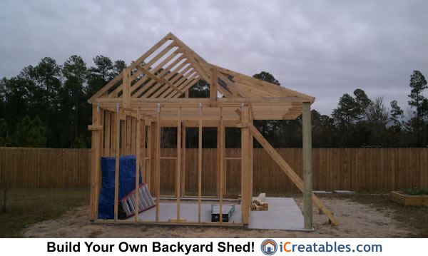 Side view of roof rafters installed on shed walls.