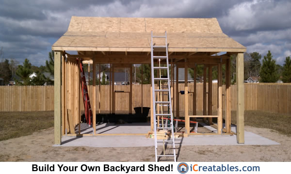 Roof sheeting installed on shed roof and shed porch.