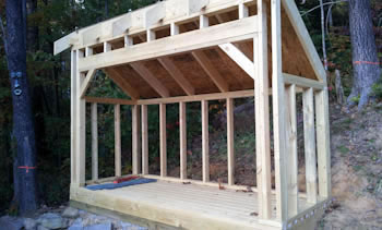 4x10 firewood shed plans roof framing.