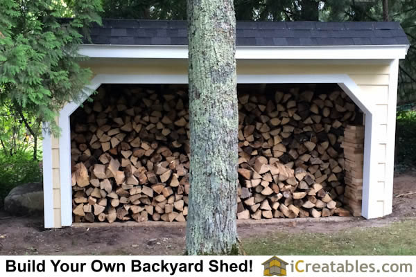 4x12 Firewood shed stocked with seasoned firewood