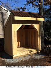 firewood shed roofing installed