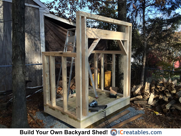 firewood shed wall framing