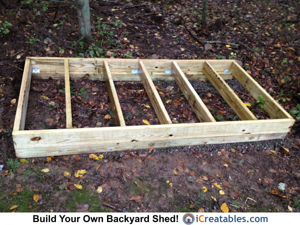 4x8 firewood shed floor joist framing