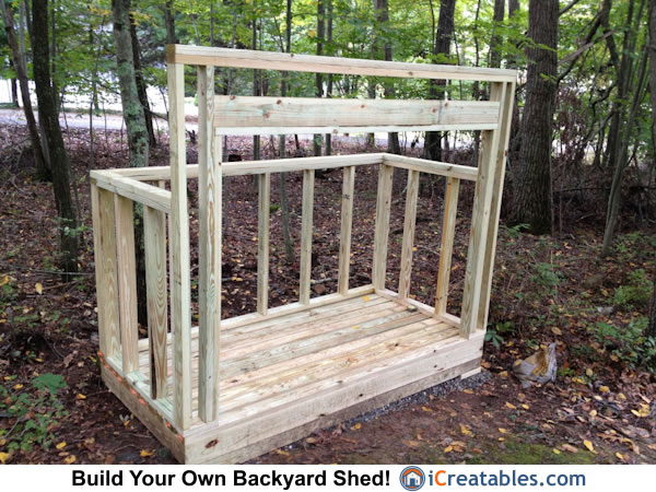 4x8 firewood shed front wall framing