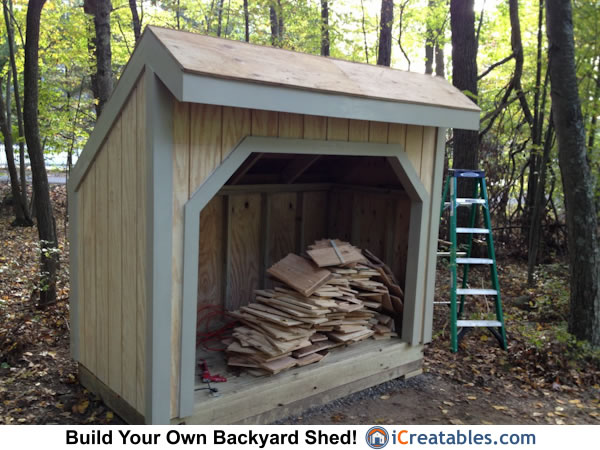 4x8 firewood shed trim paint