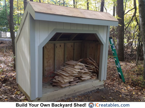 4x8 firewood shed painted