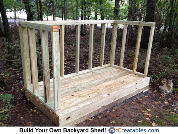 4x8 firewood shed rear wall framing