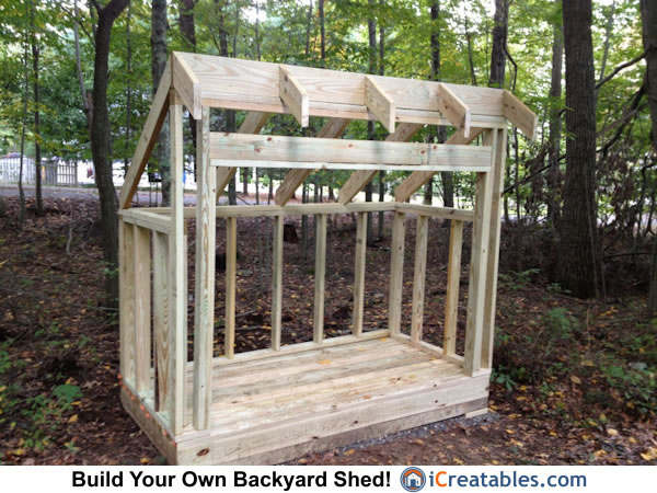 4x8 firewood shed roof framing
