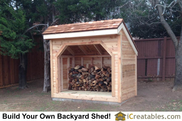 4x8 Firewood shed with firewood stacked