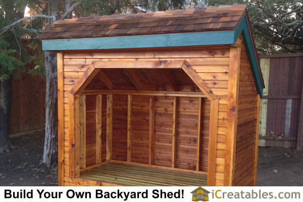 4x8 Firewood shed with firewood stained right side