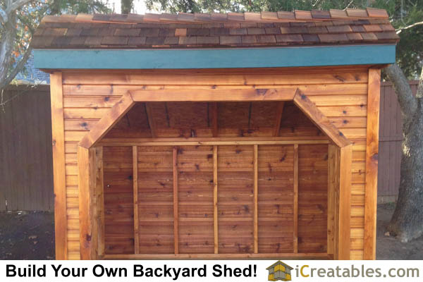 4x8 firewood shed front elevation