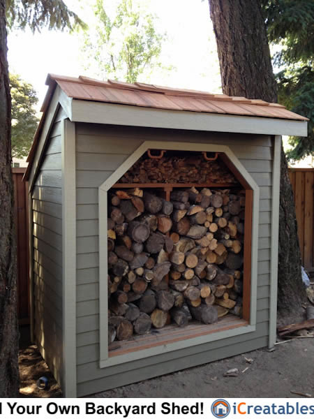 4x8 Firewood shed plans front elevation