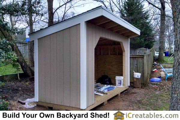 5x12 firewood shed plans completed! Holds and seasons over 1 3/4 of a cord of firewood.