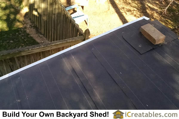 Drip edge is installed on the shed roof before the asphalt shingles.