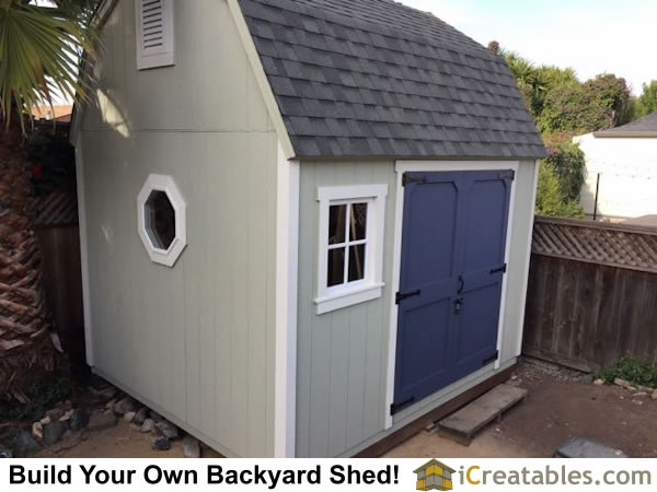 10x12 gambrel barn shed with door on the side. Shed plans by iCreatables