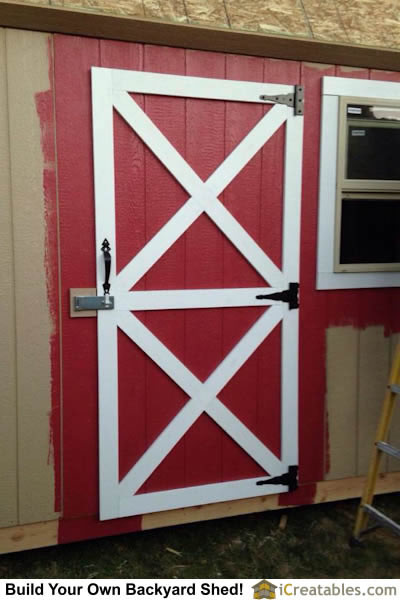 10x16 gambrel shed door detail