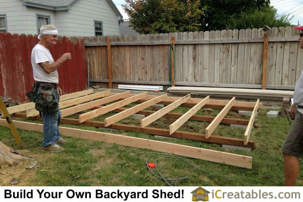 10x16 gambrel shed floor frame