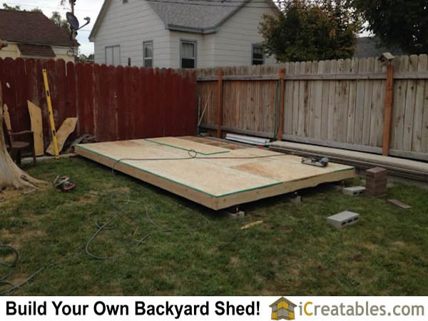 10x16 gambrel shed floor sheeted
