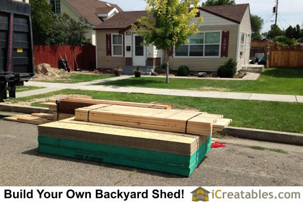 10x16 gambrel shed lumber delivery