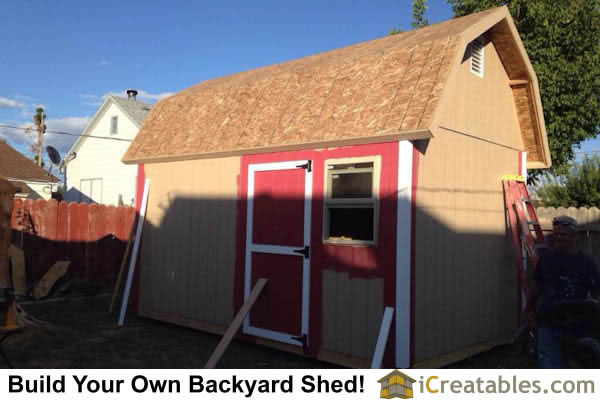 10x16 gambrel shed painting started