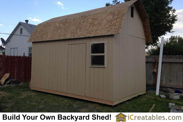 10x16 gambrel shed roof installed