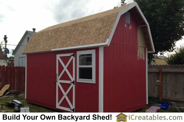 10x16 gambrel shed painting