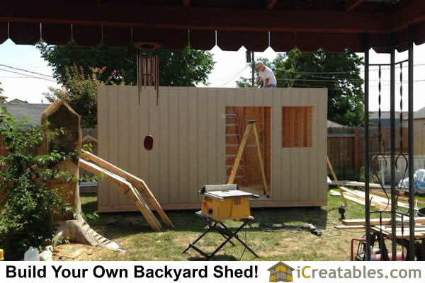 10x16 gambrel shed wall build outside