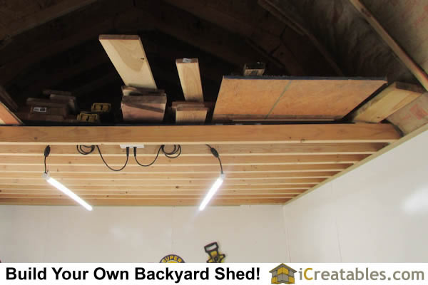 Storage Loft built into storage shed walls.