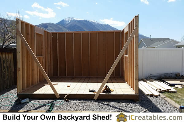 Building the shed walls for a 12x14 gambrel barn shed.