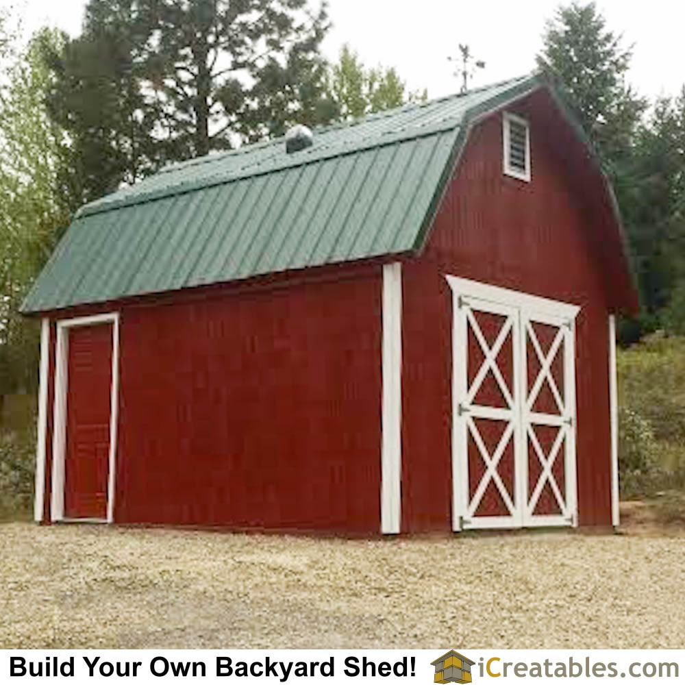 12x16 Gambrel Storage shed. This backyard shed plan has a large amount of storage space up in the loft area.