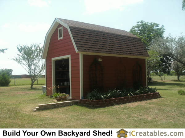 12x16 gambrel shed elevation