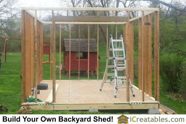 12x16 gambrel shed wall door framing