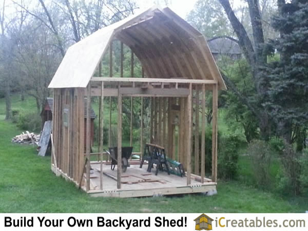 12x16 gambrel shed small barn roof framing