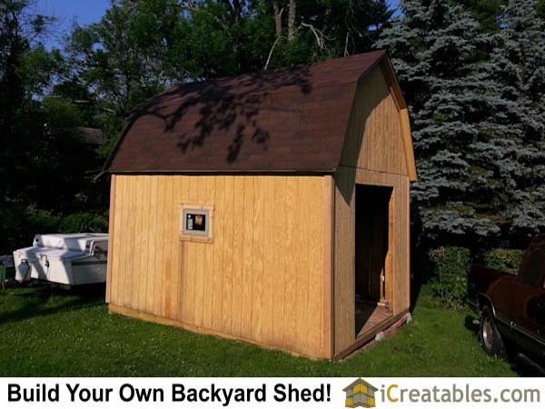 12x16 gambrel shed before doors