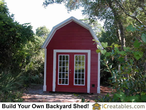 12x16 Gambrel Shed Plan front elevation