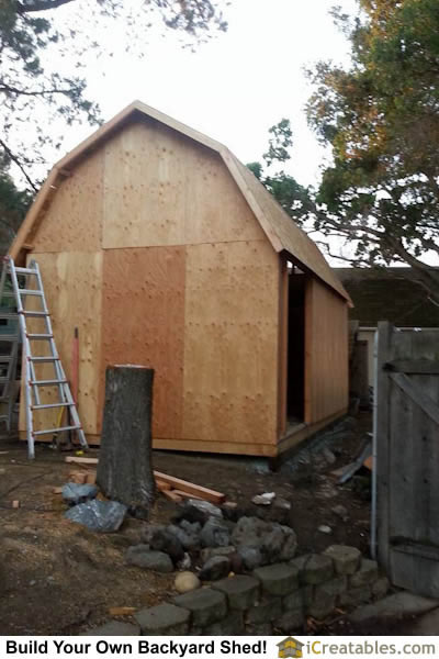 Small barn storage shed wall and roof framing.