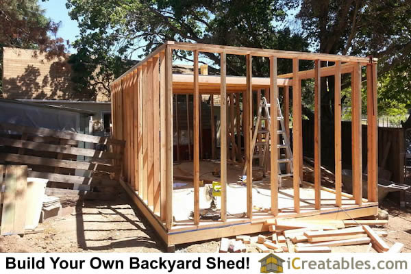 Shed with storage loft wall framing.