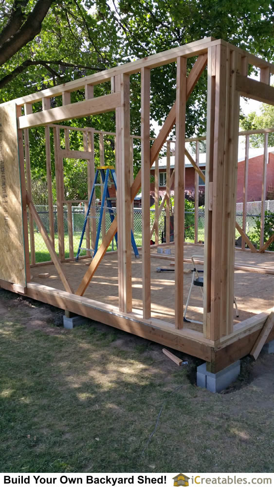 Wall framing for a large storage shed is the same as wall framing for a home.