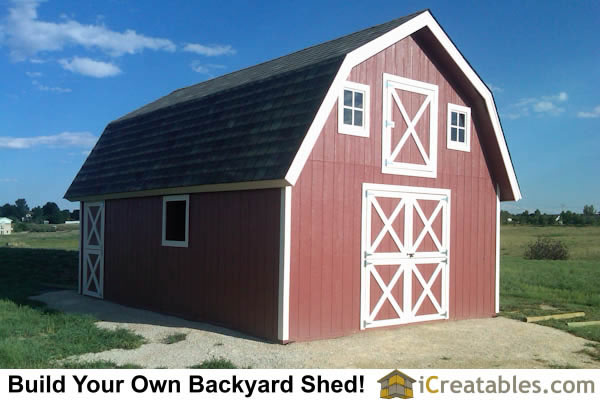 16x24 Gambrel Shed Front Elevation Large