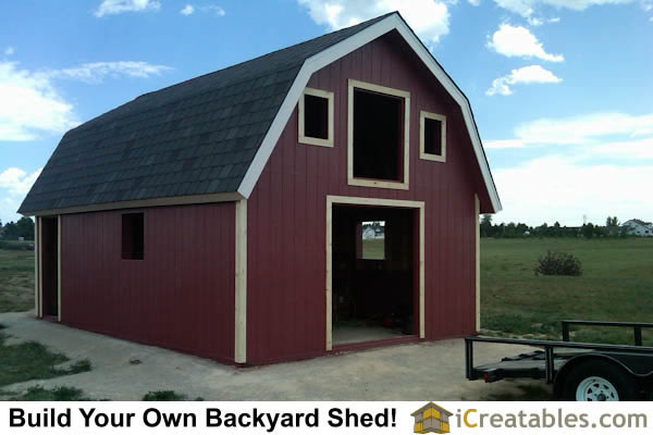Barn shed plans classic american gambrel diy barn designs for Gambrel barn house plans