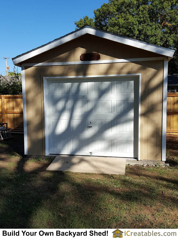 Pictures of sheds with garage doors garage door shed photos for 12x12 overhead garage door