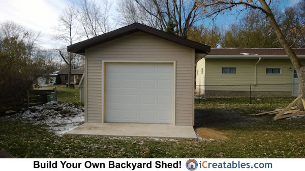 12x16 shed with garage door front elevation