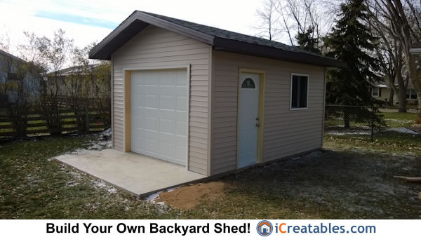 Shed with garage door built from plans by iCreatables.com