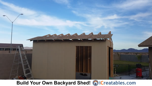 Shed building roof framing and sheeting.